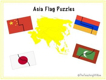 Flags of Asia Puzzles for use in early childhood classrooms ages 3-6. Download includes: Flag puzzles for China, Japan, India, Israel, Jordan, Maldives, Thailand, Armenia, Philippines and Syria. Name cards for students to label the flags once they have put the puzzles together.