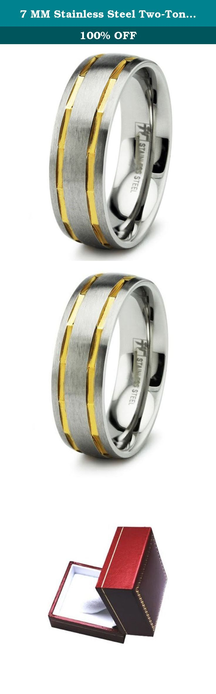 7 MM Stainless Steel Two-Tone Dual Gold Strip Wedding Band Ring, Size 12. We use surgical grade stainless steel for our massive selection of metal jewelry. Surgical grade stainless steel is abundant in our collection due to its hard body, incredible resistance to corrosion and tarnish.