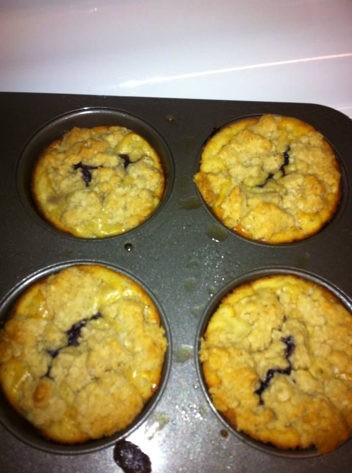 AdvoCare Meal Replacement Muffins :)  1 Vanilla Meal Replacement Shake Mix 1 Egg 1 Ripe Banana 1 teaspoon vanilla 1/2 cup plain yogurt blueberries to taste  Topping: 1/2 cup oats 3 tablespoons coconut oil 1/4 cup whole wheat flour 3 tablespoons honey  mix all the muffin ingredients together, then pour in greased muffin tin  mix together topping ingredients, then crumble on top of muffins  Bake at 350 degrees for about 15-20 minutes.