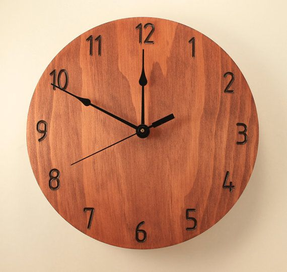 pine mahogany color clock modern clock wood clock wall clock wooden wall clock home clock home neutral