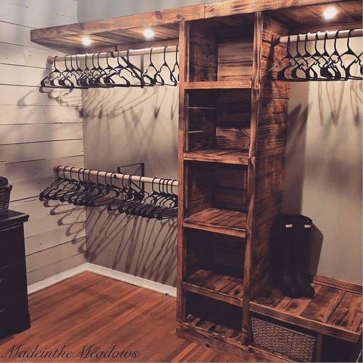 Rustic Wooden Closet Built Ins Closet Remodel Home Remodeling Home Diy