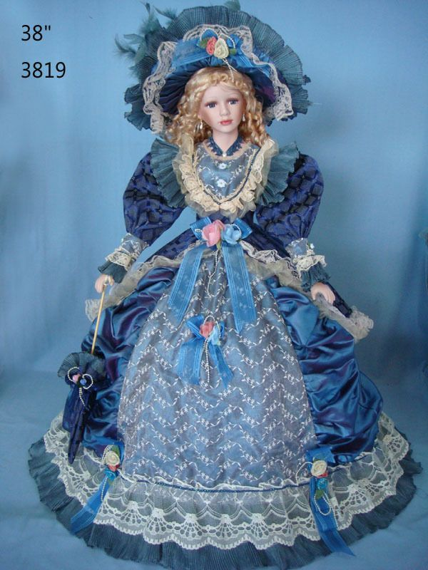 38 Beautiful Fall Centerpieces You Can Make Yourself: 38 Inch Umbrella Dolls Porcelain Doll Victorian Style Blue