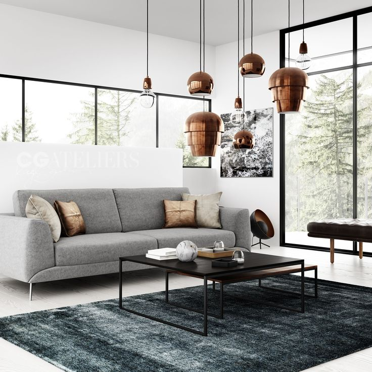 BoConcept Living Room. Grey Sofa, And Copper Lamp