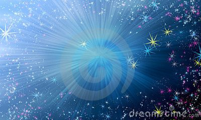 Magic background with sky gradient and flying shining stars