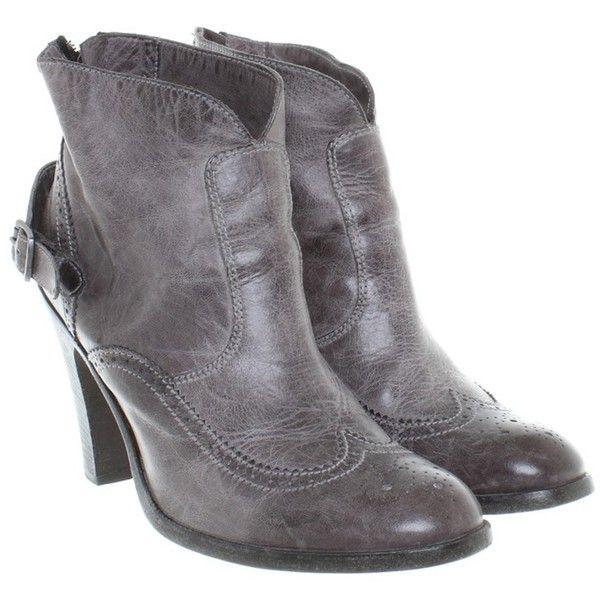 Pre-owned Budapest Ankle Boots (6.755 CZK) ❤ liked on Polyvore featuring shoes, boots, ankle booties, grey, gray booties, leather boots, distressed leather boots, gray leather boots and grey boots