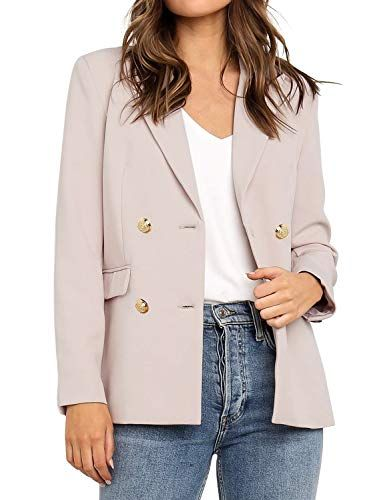 Roskiky Damen Blazer Cardigan Double-Breasted Lang Ärmel Elegant Bolero Busines…