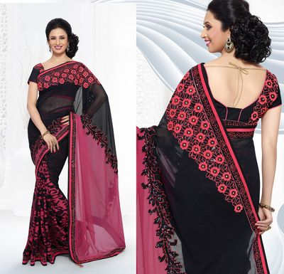 Ishita Black And Pink Georgette Party Wear Saree Bollywood Sarees Online on Shimply.com