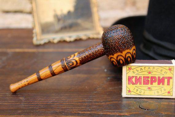 Wooden Tobacco Pipe  Vintage Smoking Pipe  Wood Pipe  by NarMag