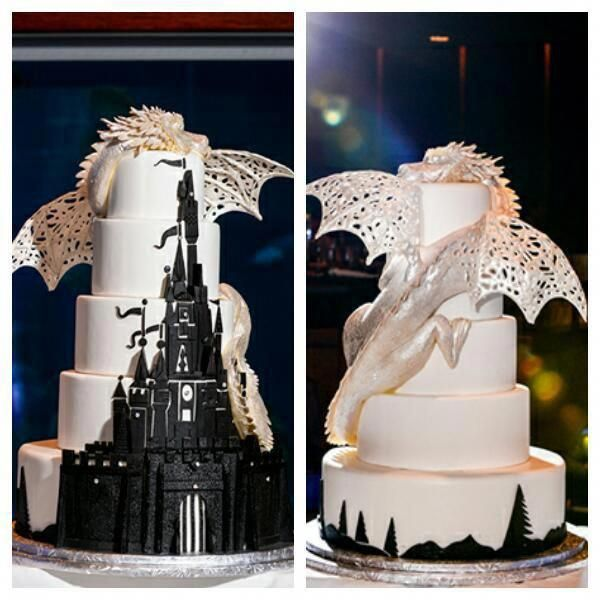 Fantasy Dragon Wedding Cake Be sure to check us out on FB- Unique Intuitions www.Facebook.com/uniqueintuitiins1 #uniqueintuitions #gothic #fantasy #wedding #weddingcake #uniqueweddingideasthemes