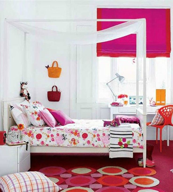 White And Pink Themed Colorful Bedroom Design With Floral Motive Bedding On Pink Polkadot Rug