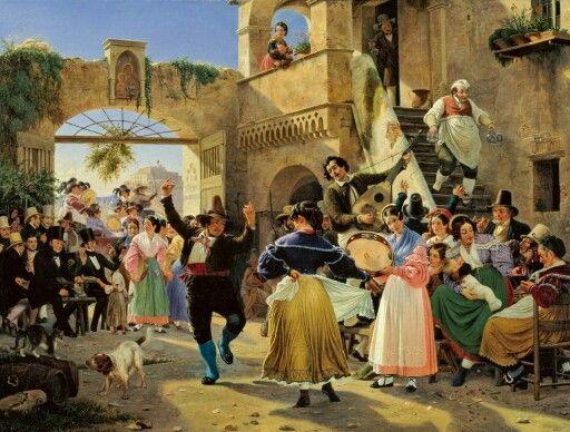 Marstrand: Romerske borgere forsamlet til lystighed i et osteri, 1839