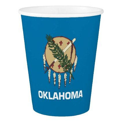 Patriotic paper cup with Oklahoma Flag - decor gifts diy home & living cyo giftidea