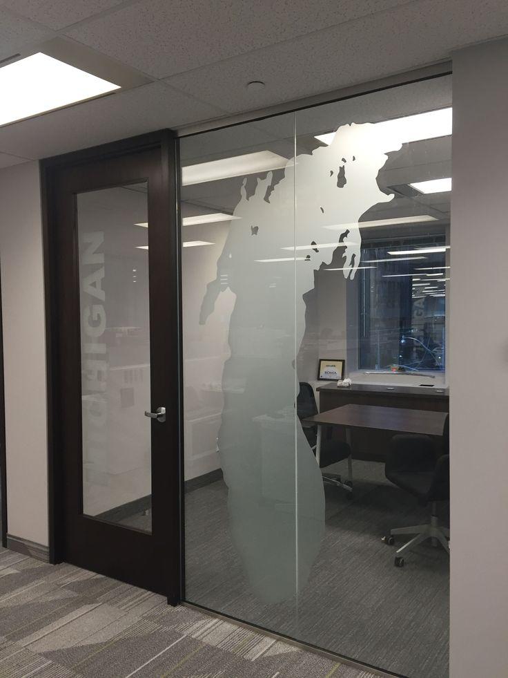 Frost vinyl applied to office windows #decorativefilms #privacyfilm #windowfrost #windowgraphics #vinylfrost