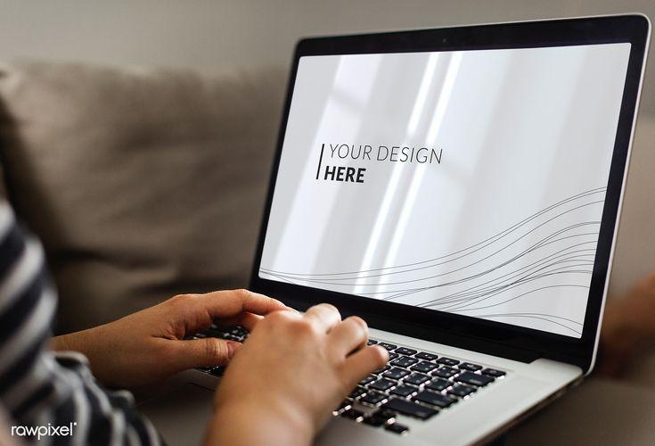 Download Premium Psd Of Woman Using A Laptop Mockup 580899 Digital Marketing Design Mockup Computer Mockup