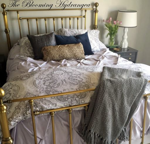 Brass bed, gray, lilac, animal print, french gray sherwin williams