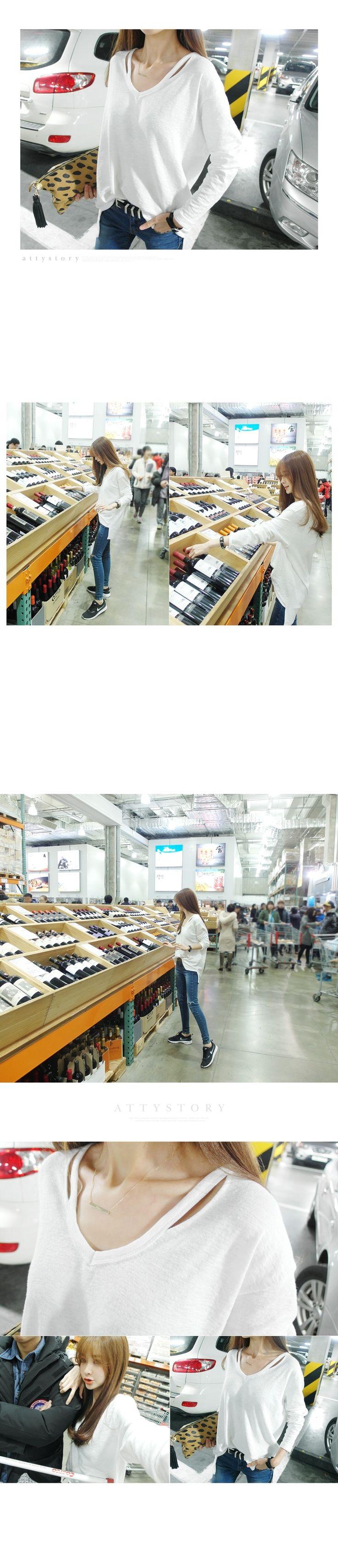 2017 Корея осень и зима женщин длинный абзац сплошной цвет большой размер свободный V-образным вырезом длинный рукав простой белый бамбук хлопок футболка - Taobao