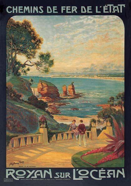 chemins de fer de l'état - Royan sur l'Océan, vue de Vallières - vers 1920 - illustration de Stéphane Brecq -