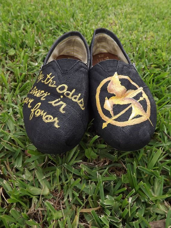 HUNGER GAMES Hand Painted Toms by pinstripesNparasols on Etsy, $90.00    I want them!!