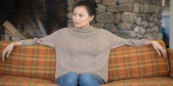 Пуловер реглан с широким воротником спицами. О.п.