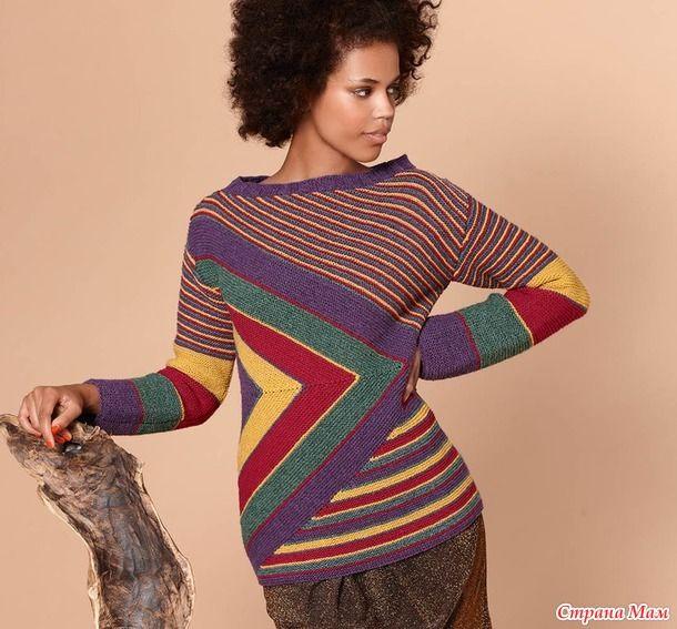 Всем привет! Для любителей нескучного вязания предлагаю яркий джемпер в полоску РАЗМЕР 36/38 ВАМ ПОТРЕБУЕТСЯ