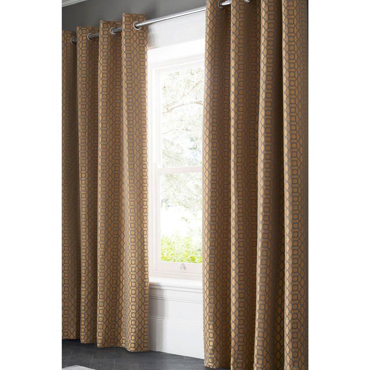 rideaux illets en riche coton avec imprim g om trique. Black Bedroom Furniture Sets. Home Design Ideas