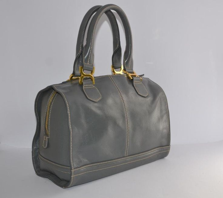 LG QUALITY GREY LEATHER BOWLING BAG TOTE HANDBAG MARKS & SPENCER SAMPLE PRISTINE  | eBay