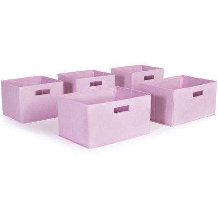 Pink Storage Bins, Set of 5
