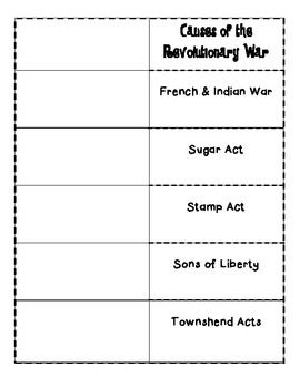 Causes of the Revolutionary War Foldable - Lexington, Bunk