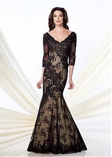Glamorous sirène dentelle col V décolleté pleine longueur mère de la robe de mariée