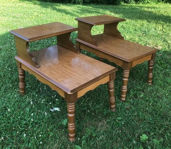 Set Of Two Tier Side Tables Custom Painted Vintage Step Side Table Nightstand Bed Side Table Vintage Side Table Mid Century Side Table Farmhouse Side Table