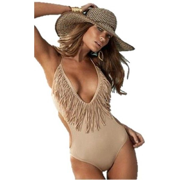 Beige One Piece Fringe Swimsuit Monokini Swimwear Size Large ($14) ❤ liked on Polyvore featuring swimwear, one-piece swimsuits, 1 piece bathing suits, swimsuit swimwear, one piece swim suit, fringe monokini e one piece swimsuits