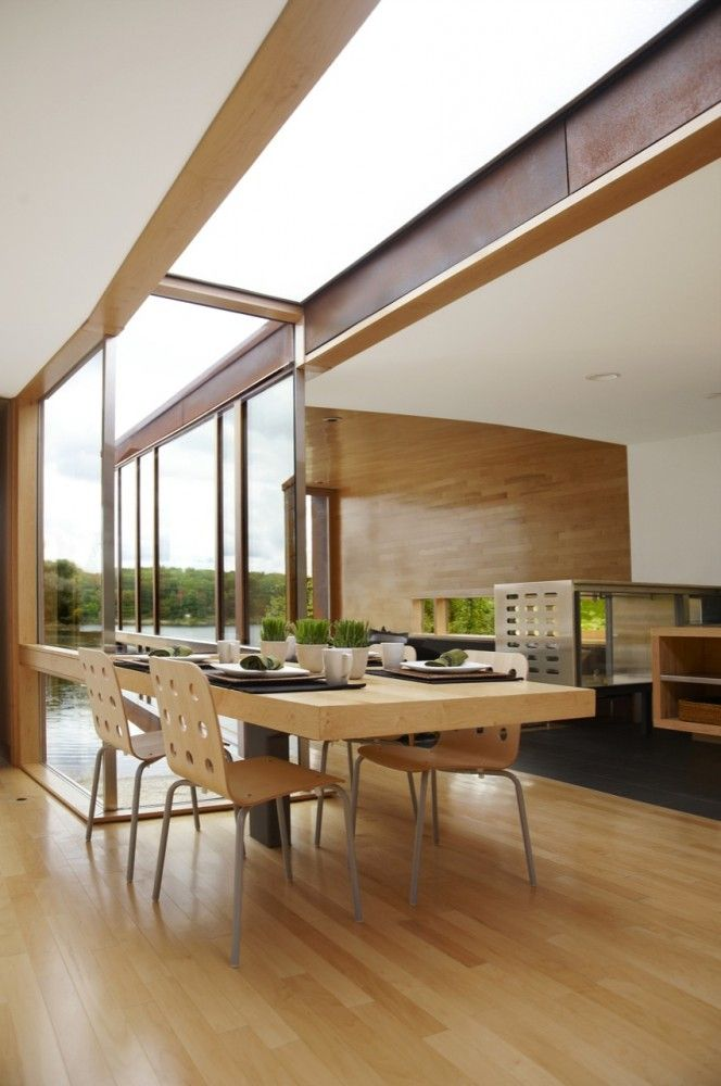 Koby Cottage / Garrison Architects, Michigan, USA: Dining Area, Glasses Roof, Open Spaces, Kobi Cottages, Natural Materials, Garrison Architects, Dreams Dining Rooms, Natural Lights, Modern Cottage