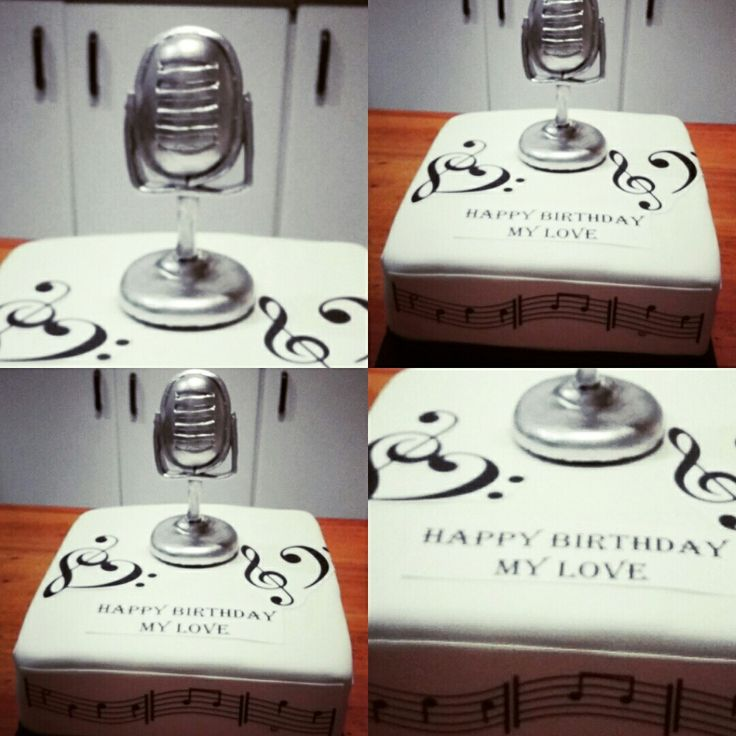 Music themed cake. Edible vintage microphone.