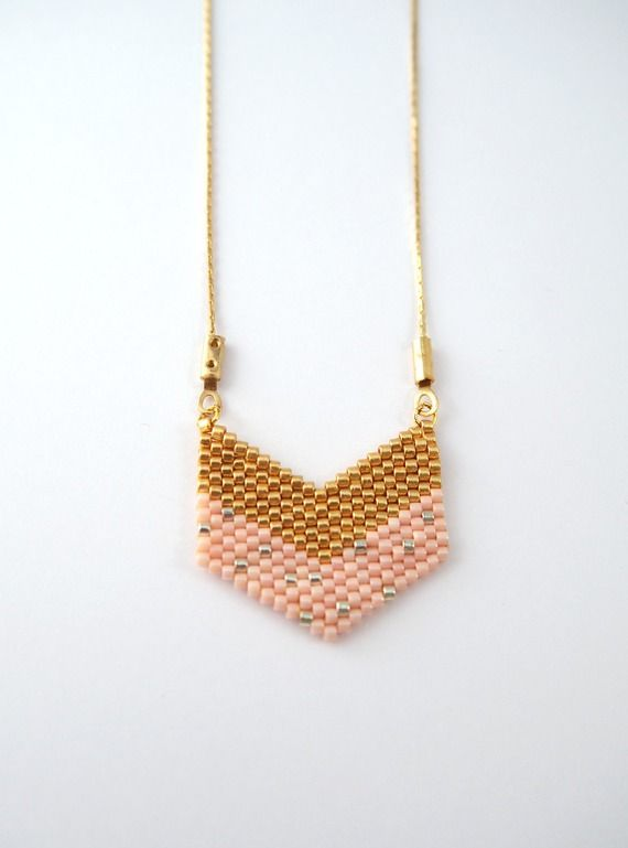 Collier chevron doré et nude en perles Miyuki ★ or Gold filled
