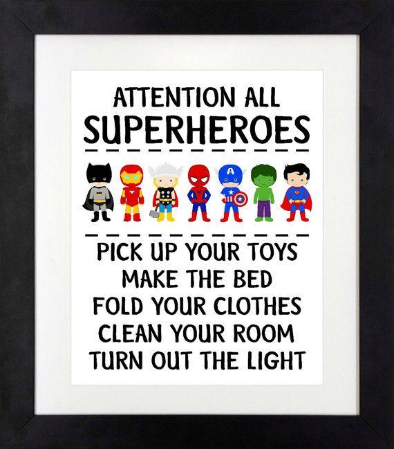 Schön Superheld Schlafzimmer Superhelden Regeln Von RedBearCo Auf Etsy