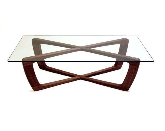 Mesa de centro / moderna / de cristal / pata de madera KUSTOM bark