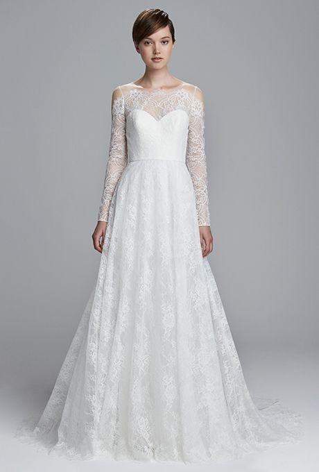 "Brides.com: Christos - Spring 2017 ""LuLu"" bare-back corded lace fit-to-flare wedding dress, ChristosPhoto: Courtesy of Christos"