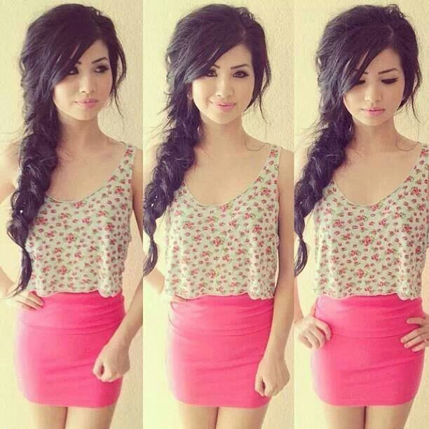 Cute outfit! Mini pink skirt, and floral tank top perfect for ...