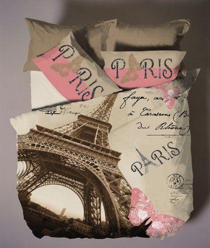 Deluxe Satin Cotton 4pcs Paris Double Size Duvet / Quilt Cover Set Eiffel Theme Bedding Linens