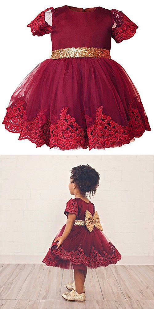 b4dea340c74b Wine Red Clothes Dresses for Girls Kids Gold Sequins Belted Ball ...