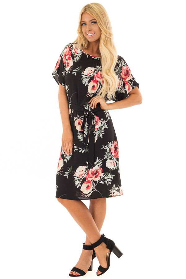 482d9fb803c Black Floral Dress with Waist Tie and Hidden Pockets front full body ...