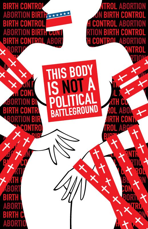 A woman's body should not be scrutinized through any types of politics. The patriarchal society we live in does nothing but continue to surpress and bury a woman's rights. The government continues to scrutinize women in their everyday lives including their right to marriage or healthcare. This photo to me shows a woman as nothing but an advertising board for the government to plaster their propaganda all over.