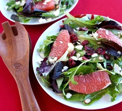 19 Juicy Grapefruit Recipes: Mixed Herb Grapefruit Salad with Dried Cranberries, Crumpled Goat Cheese, Almonds.