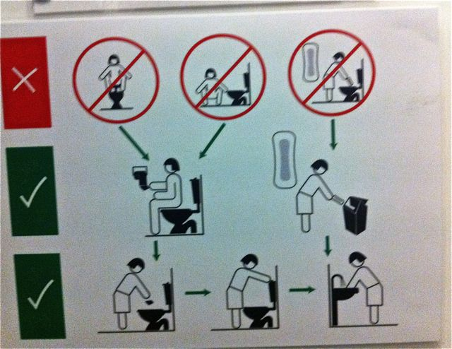 "This ""how to use a toilet"" in a New Zealand bathroom made me laugh."