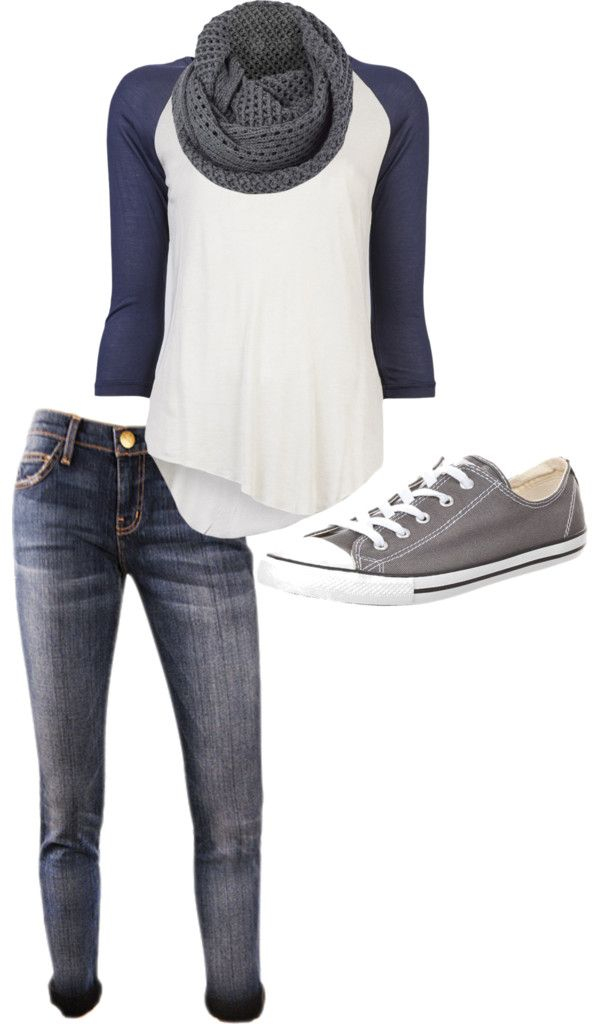 Baseball tees are cute and casual. I love everything about this outfit right down to the chucks.: