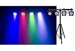 Chauvet 4BAR Lighting Package includes Four LED RGB Par Cans - Sound Activated - Foot Switch Controller - 1 Tripod Stand includes Carry Bag