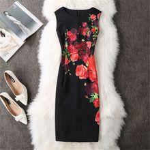 Novo 2017 Moda Sexy Mulheres Elegantes Vestidos de Verão Mulheres O neck red rose imprimir vestidos sexy bainha dress vestidos de festa vestidos(China (Mainland))