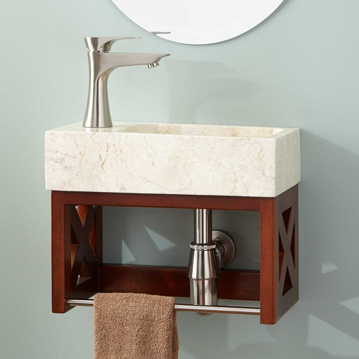 Website With Photo Gallery  Ansel Golden Mahogany Wall Mount Vanity with Towel Bar u Stone Sink
