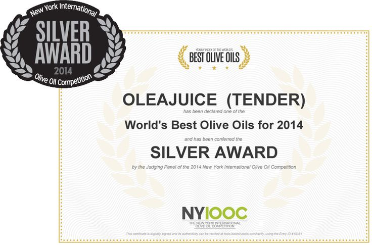 Silver Award winner @ The 2014 New York International #OliveOil Competition for the #OleaJuice Tender!