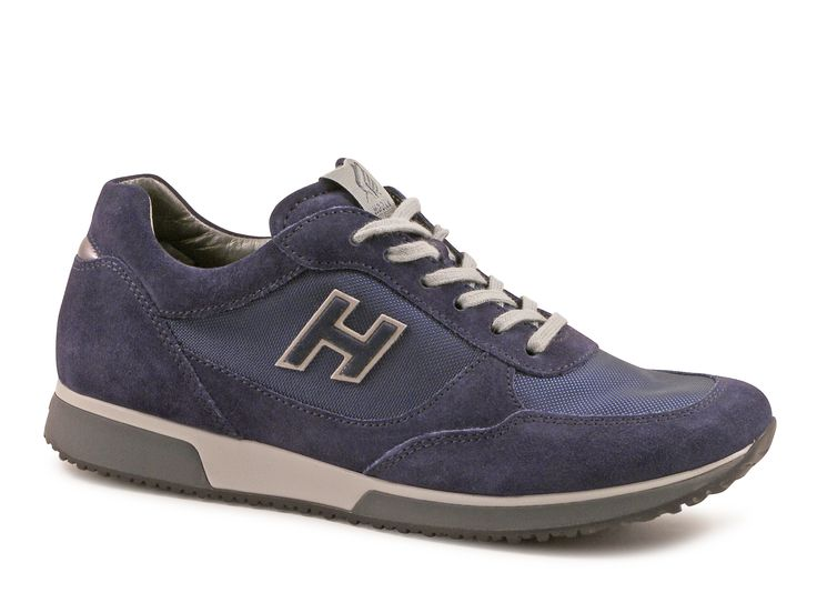 Hogan mens sneakers in blue suede leather and fabric  Italian Boutique  193